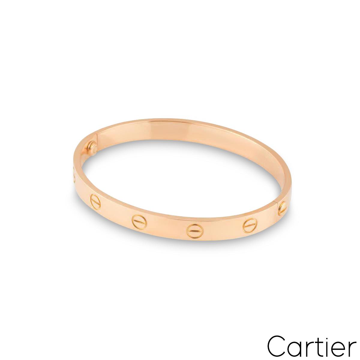Cartier Rose Gold Plain Love Bracelet Size 16 B6035616